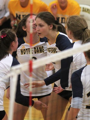 Notre Dame gets ready for a point August 16, 2018 as Notre Dame beat Cooper 3-1 in volleyball.