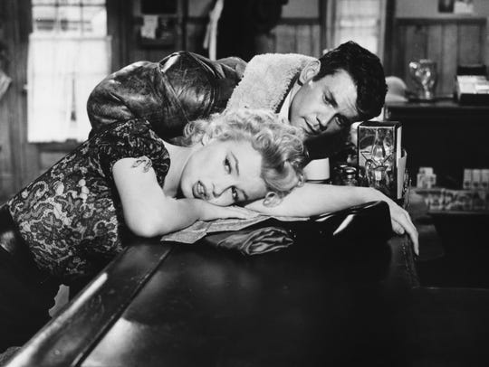 "Marilyn Monroe and Don Murray star in ""Bus Stop"" (1956)."