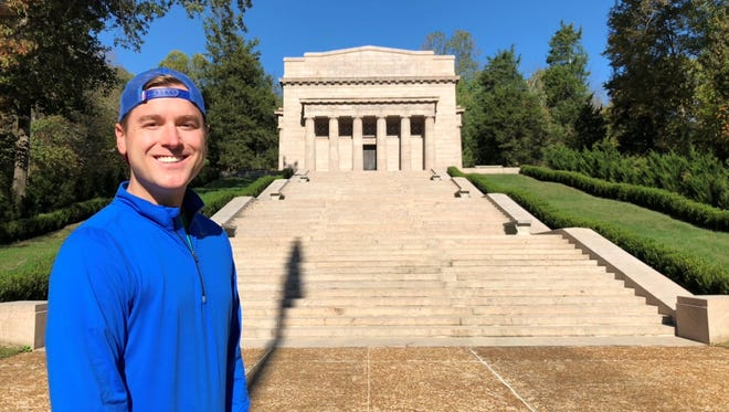 Mikah Meyer's stopped today at Abraham Lincoln's birthplace in Hodgenville