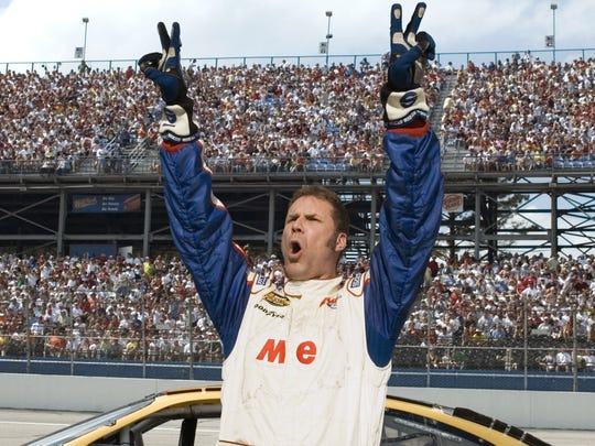"Will Ferrell celebrates a victory in ""Talladega Nights: The Ballad of Ricky Bobby.""  Photo Credit: Suzanne Hanover  S.M.P.S.P.  Copyright: (c) 2006 Columbia Pictures Industries, Inc. and GH One LLC.  All rights reserved."
