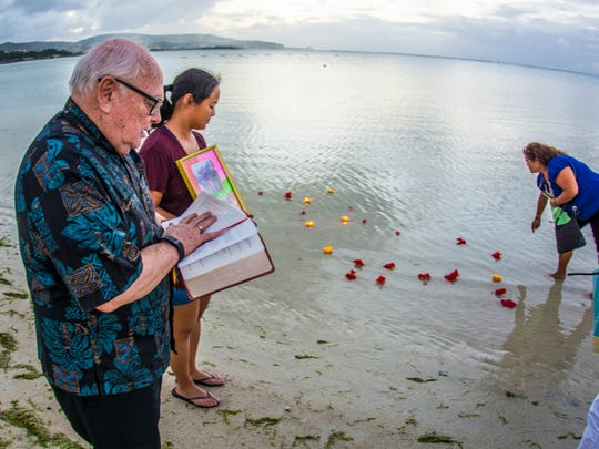 A lantern and candlelight ceremony to remember Nancy Hawkins, a former UOG educator, was held beachside in Tamuning on Jan. 3.
