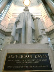 A statue of Confederate President Jefferson Davis in the Capitol rotunda in Frankfort, Ky.