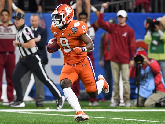 Clemson running back Travis Etienne (9) during the 1st quarter of the Allstate Sugar Bowl at the Mercedes-Benz Superdome in New Orleans on Monday, January 1, 2018.
