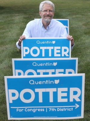 Quentin Potter, Democratic candidate for Congress in the 7th Congressional District, is relying more on campaign signs like these due to the pandemic. Several local candidates challenging incumbents on the Nov. 3 general election ballot have to build name recognition with in-person campaign events and fundraisers canceled.