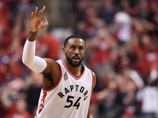 Toronto Raptors forward Patrick Patterson, shown versus the Pacers in the playoffs last season, averaged 6.8 points and 4.5 rebounds last season. He is potential Pacers free agent target.