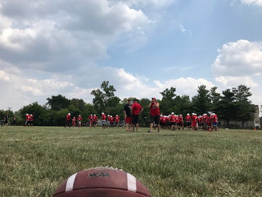 Thursday's Canton varsity football practice comes to