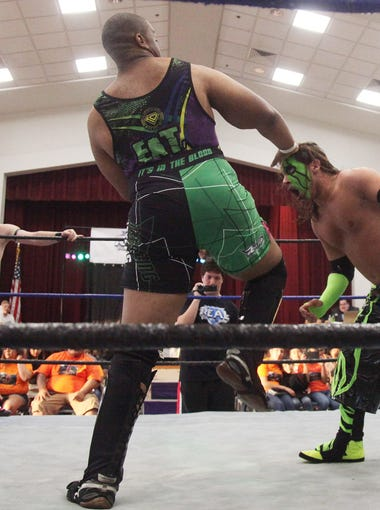 Stephen Damico, also known as Syther to his fans, competes in the ring against Big Bullly Parker during an event held by REAL Pro Wrestling at the Riverside Center in Fort Myers.