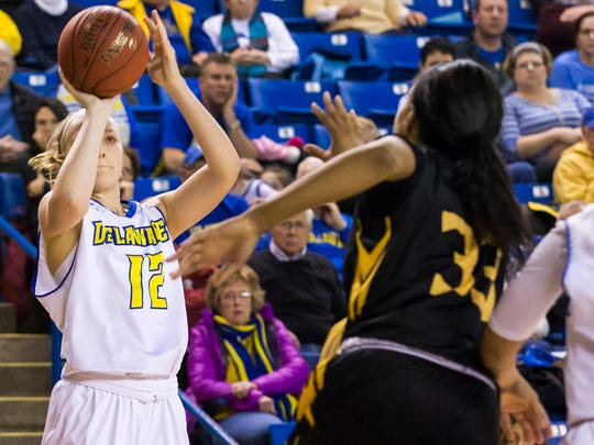 Delaware's Hannah Jardine puts up a shot in the second half of Delaware's 69-64 overtime win over Towson University at the Bob Carpenter Center in Newark on Sunday afternoon.