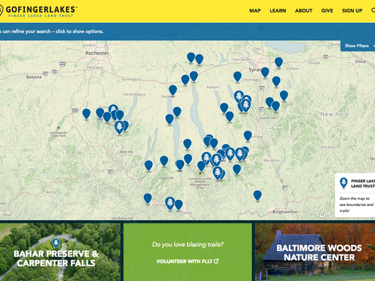A map from the new Go Finger Lakes website shows different wildlife areas to explore in the Finger Lakes region.
