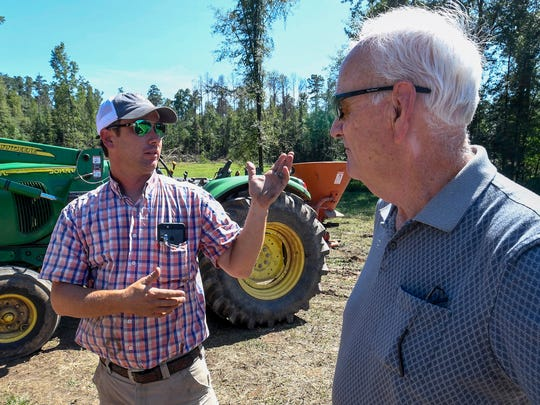 Jeremy Brown, left, talks with Walt Sellers as workmen work to cut down pine beetle infested pine trees and salvage nearby trees on the Brown farm near Ramer, Ala., on Thursday September 7, 2017.