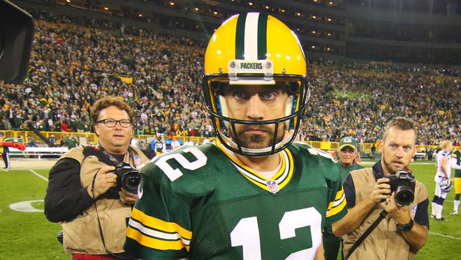 Green Bay Packers quarterback Aaron Rodgers (12) as he leaves the field following the game against the Seattle Seahawks at Lambeau Field.