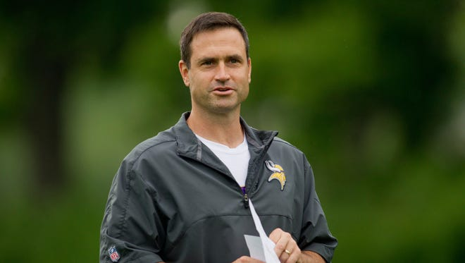 Minnesota Vikings special teams coach Mike Priefer gets ready for the Minnesota Vikings Minicamp at Winter Park.