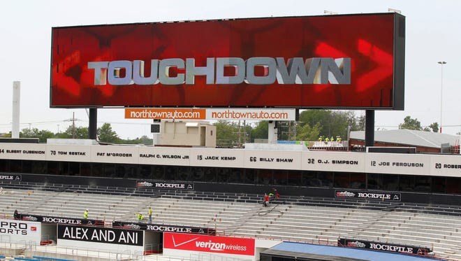 A new 163-foot scoreboard above the west end zone is part of the renovation work underway at Ralph Wilson Stadium, home of NFL football's Buffalo Bills, in Orchard Park, N.Y.