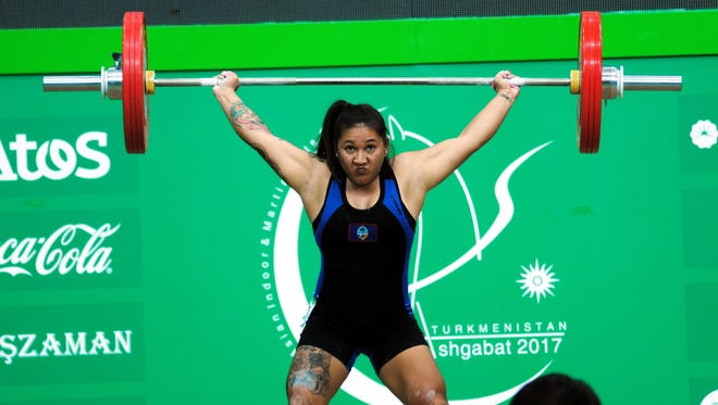 "In this file photo, Jacinta ""Ja"" Sumagaysay lifts in the 58-kilogram class during the Asian Indoor and Martial Arts Games in Turkmenistan, where she set three Guam national records. She set two new records at the Oceania Weightlifting Championships in New Caledonia on June 29."