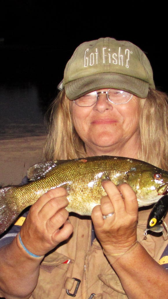 Carol hooked this smallmouth bass in the Chemung River at last light Saturday.