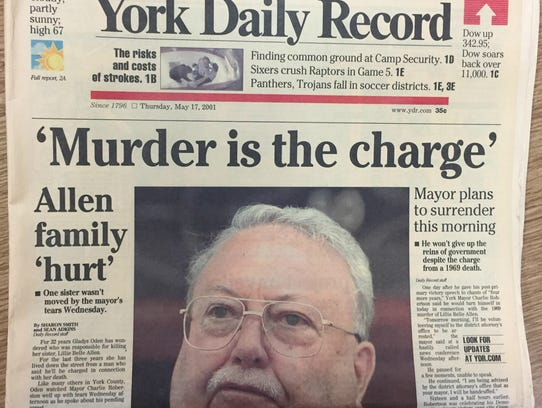 The front page of the York Daily Record on Thursday,