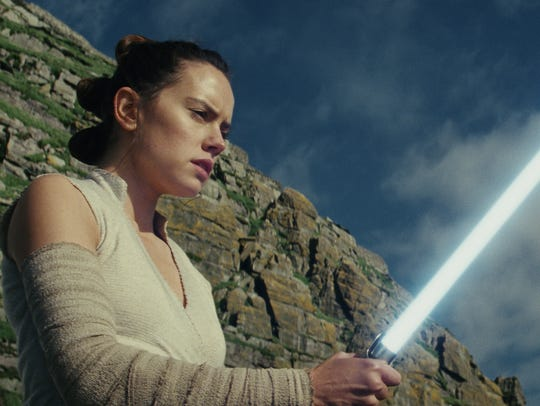 "Daisy Ridley stars as Rey in ""Star Wars: The Last Jedi,"""