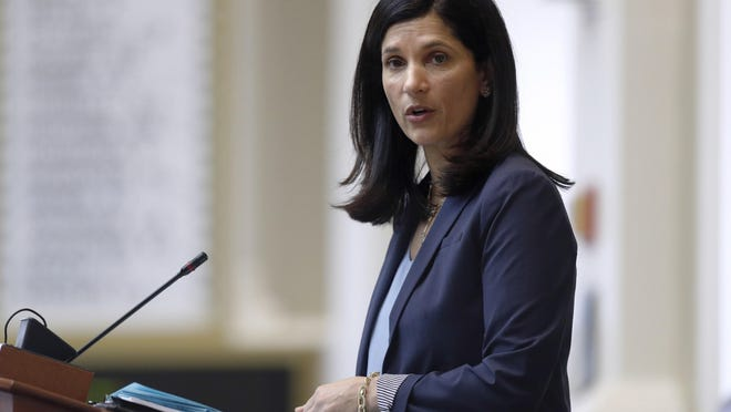 In March, Maine House Speaker Sara Gideon, D-Freeport, conducts business at the State House in Augusta, Maine. Gideon won Maine's Democratic primary Tuesday night for the right to challenge Republican Sen. Susan Collins in November.