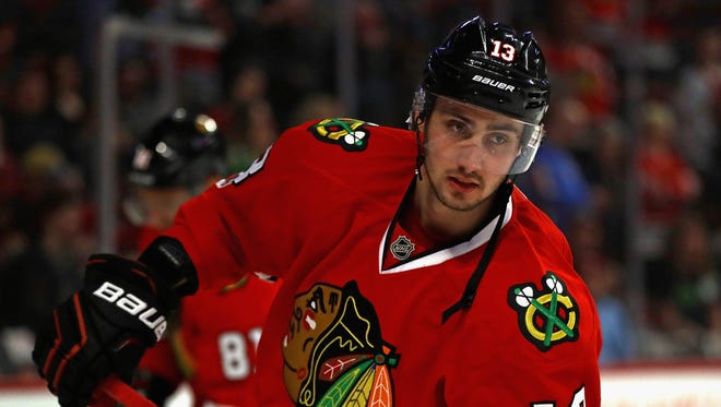 Tomas Jurco of the Chicago Blackhawks participates in warmups before a game against the St. Louis Blues on Feb. 26, 2017, in Chicago.