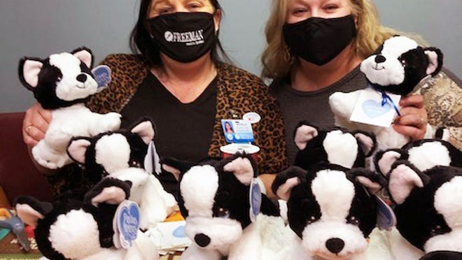 Freeman COVID-19 unit patients are getting Hope Puppies and Faith Bunnies thanks to a donation of 70 stuffed animals from Precious Moments.