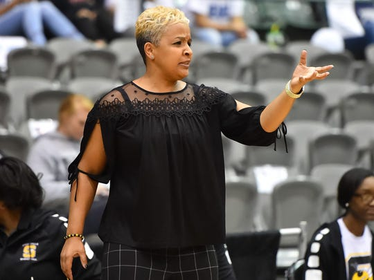 Starkville coach Kristie Williams directs her team on Wednesday during the MHSAA Class 6A state semifinals at the Coliseum in Jackson.