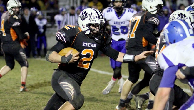 Stratford's Kam Bornbach averaged 7.49 yards a rushing attempt in the Marawood Conference this season.