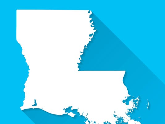 Louisiana Map on Blue Background, Long Shadow, Flat Design