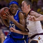 Eliza Norman, right, and her ASU women's basketball teammates will try again for their first win Saturday at SMU.