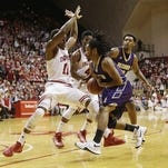 Alcorn State men's basketball player Malachy Onwudiegwu, pictured against Indiana, and his teammates will be ineligible for the NCAA Tournament next year.