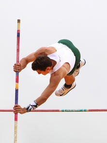 East Brunswick's Devin Kusmider competes in the pole vault on May 3, 2016.