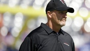 Atlanta head coach Dan Quinn of Morristown walks on the field at MetLife Stadium on Sunday. (AP Photo/Seth Wenig)