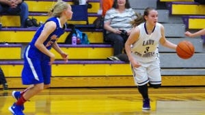 Emily Michael (3) led the Lady Colonels with 24 points in Monday's home game against Harpeth.