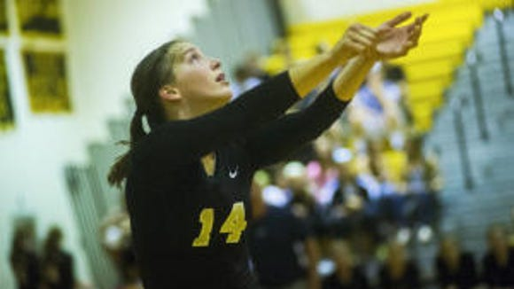 Maddie Comly in a recent match vs. South Western (Clare Becker--The Evening Sun)