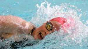 Margaret Harrigan of Chatham swims the 200-yard freestyle against Haddonfield in the NJSIAA Public C championship. (Jason Towlen/Staff Photographer)