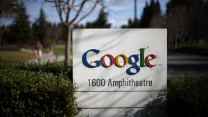 A sign is posted outside of Google headquarters on January 30, 2014 in Mountain View, Calif.