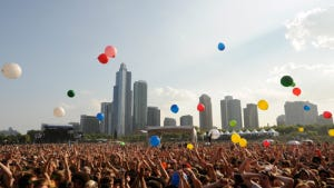 Crowd of people at Lollapalooza held annually in Grant Park, Chicago, IL.<br /> photo: google