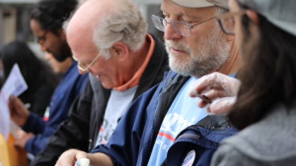 Ben Cohen, left, and Jerry Greenfield, co-founders of Ben & Jerry's, at Rutgers University on May 2, 2016. (Photo: Avalon Zoppo)