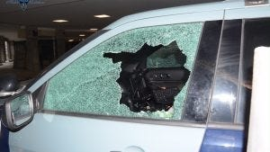 A State Police cruiser was heavily damaged in what troopers called an act of vandalism in Quincy.