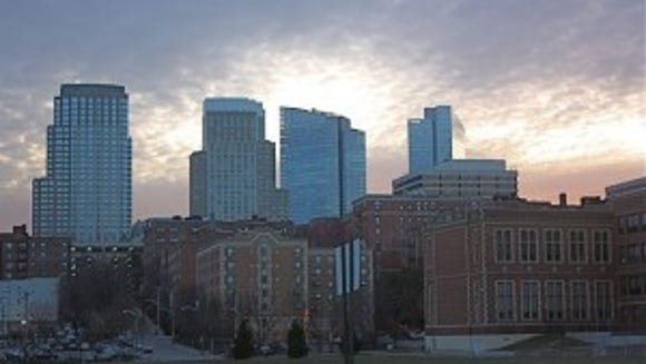 The White Plains skyline is seen at dusk.