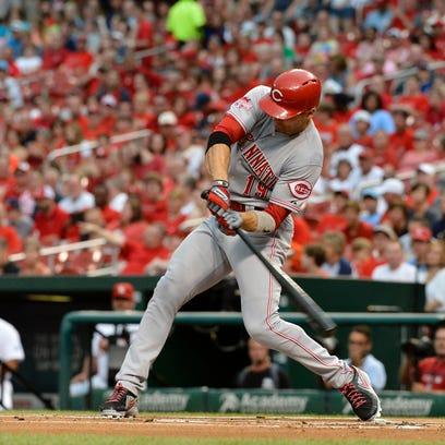 Cincinnati Reds first baseman Joey Votto (19) hits a double.