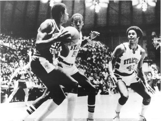 Michigan State's Earvin Johnson is shown in action