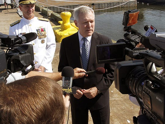 U.S. Secretary of the Navy and former Mississippi Gov. Ray Mabus addresses reporters in Pascagoula, Miss. in 2012.