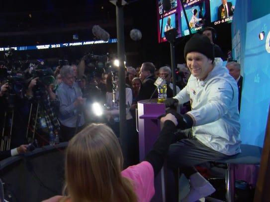 Natalie Blank gives New England Patriots quarterback