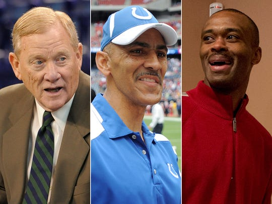 Bill Polian, Tony Dungy and Marvin Harrison, who are