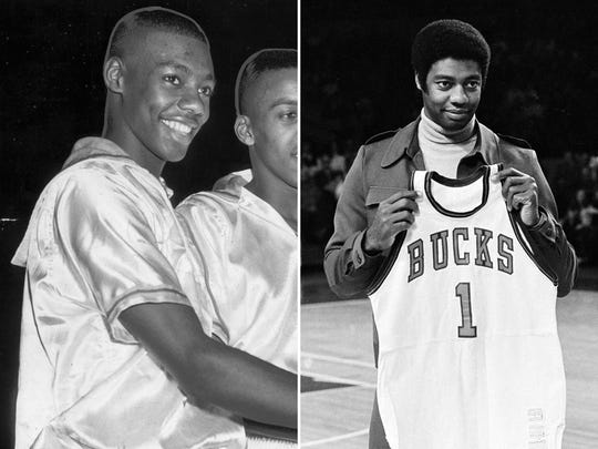 Oscar Robertson shown during his time at Crispus Attucks (left) and then being honored by the Bucks (right).