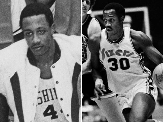George McGinnis during his Washington HS days (left) and the 76ers (right).