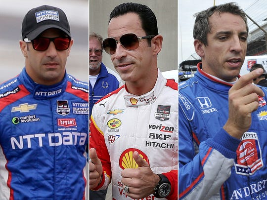 Row 2 of the starting lineup for the 2015 Indianapolis 500: Tony Kanaan, Helio Castroneves, Justin Wilson.