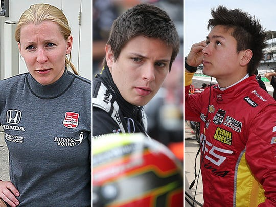 Row 9 of the starting lineup for the 2015 Indianapolis 500: Pippa Mann, Gabby Chaves, Sebastian Saavedra.