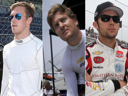 Row 10 of the starting lineup for the 2015 Indianapolis 500: Jack Hawksworth, Stefano Coletti, Bryan Clauson.