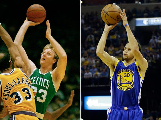 Larry Bird, left, and Steph Curry both represent the great shooting and scoring of their respective eras